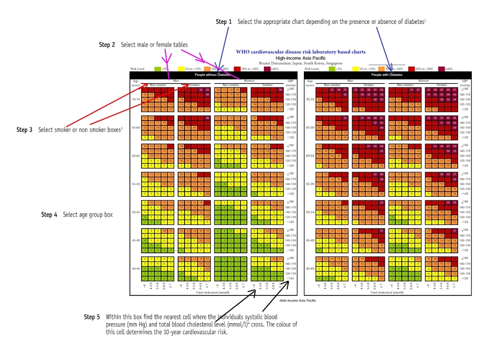 Guide to use the WHO ISH prediction chart