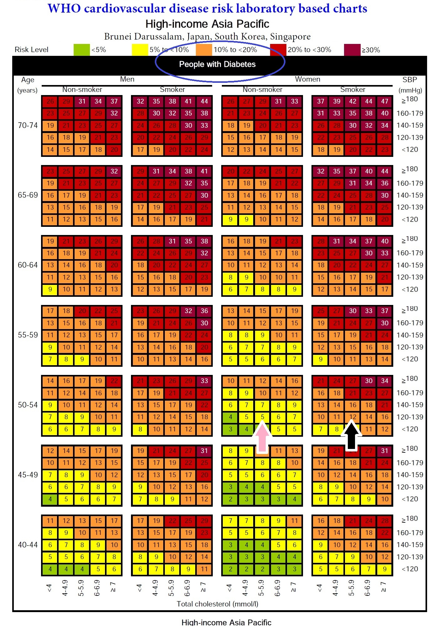 Image - Madam Lee risk level based on WHO prediction chart for people with type 2 diabetes